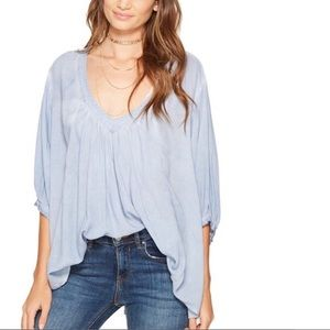 FREE PEOPLE Light Blue Catch Me If You Can tunic
